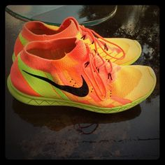 Nike Flyknit 3.0 Running Shoes Orange and yellow Nike sneakers❤️ Nike Shoes Sneakers