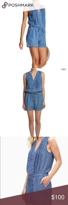 Splendid Rayon Voile Pleated Chambray Romper Splendid Rayon Voile Pleated Chambray Medium Wash Romper. New with tags. Retails for $178.   A neat row of lustrous buttons and a crisply pleated bodice perfectly balance the easy chambray construction of this wardrobe-staple romper. - Split neck - Sleeveless - Front partial button closure - Drawstring waist - Side slant pockets - Pleated front Splendid Pants Jumpsuits & Rompers