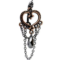 Vintage Copper Heart Top Mount Belly Ring MADE WITH SWAROVSKI ELEMENTS | Body Candy Body Jewelry