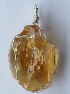Calcite stone pendant wire wrapped in sterling silver