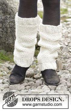 Jambières tricotées au point de riz, en DROPS Eskimo.