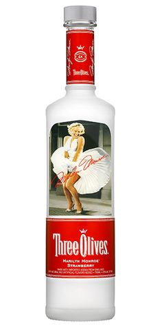 "Three Olives, Marilyn Monroe Strawberry Vodka: ""Combines delicious imported vodka from England with the tempting taste of strawberries and a hint of cream."" - Distiller's notes"