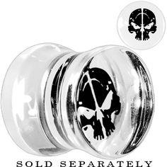 00 Gauge Skull Silhouette Acrylic Saddle Plug $3.99