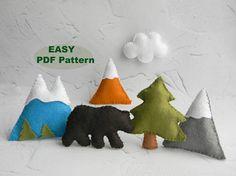 PDF pattern Mountain Nursery Mountain Baby Mobile Pattern Felt