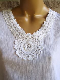 Items similar to Women Crochet Tunic Dress, Kaftan Dress, 100 % Cotton on Etsy - Knitting Crochet Yoke, Crochet Collar, Hand Crochet, Crochet Patterns, Lace Collar, Cotton Crochet, Dress Design Patterns, White Crochet Top, Beautiful Dress Designs