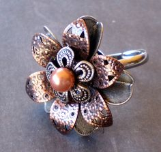 Metal Blossom a floral filigree Pearl Flower Ring by marokel, $14.00