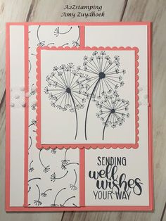 dance - Dandelion Wishes Stamp Set Handmade Birthday Cards, Greeting Cards Handmade, Dandelion Wish, Hand Stamped Cards, Japanese Embroidery, Flower Embroidery, Embroidered Flowers, Embroidery Stitches, Stamping Up Cards