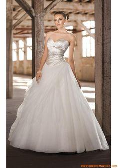 Robe de mariée princesse satin tulle col en coeur