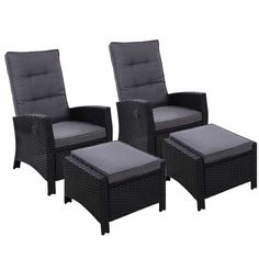 2PC Sun lounge Recliner Chair Wicker Outdoor Furniture Patio Garden Black  Only AUD$568.26!   Now you can really sit back and chill in the outdoors with the Gardeon Wicker Recliner Set. Comprising an oversized recliner and matching ottoman, the outdoor ensemble is everything you need for relaxation in elegant wicker style. The set is made of UV-resistant and weatherproof PE wicker so that you never have to worry about rust, corrosion or weathering issues. The heavy-duty steel frame, also wr