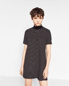 HIGH NECK STRIPED DRESS - Available in more colours