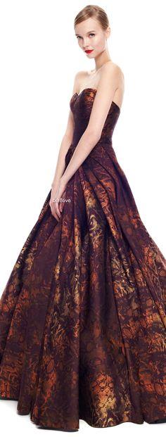 Zac Posen - Python Floral Jacquard Strapless Gown on Moda