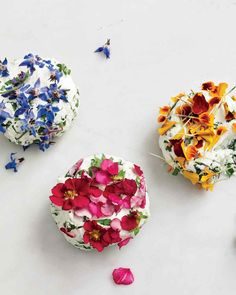 "Simply mix the chopped flowers (petals and leaves) into soft goat cheese, then shape the shape and dab more flowers over it. Any edible flower will work. Paprika nasturtium, borage and pansies are shown here. This recipe appears in our cookbook ""Ma Arugula Recipes, Edible Creations, Flower Food, Goat Cheese, Vegan Cheese, Pansies, Food Art, Tea Party, Goats"