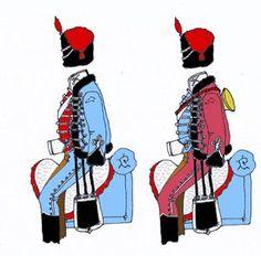 Húsares de Bailen: Pelliza y pantalon azul celeste; dolman encarnado con vuelta y cuello blanco; palma y sable enlazados en sus extremos; boton blanco de cabeza de turno; capote gris, y chabrac azul celeste; gorra de piel de oso con manga encarnada; bota corta, y el pntalon de montar a la sajona. Lead Soldiers, Toy Soldiers, Portugal, Empire, Napoleonic Wars, Army, Superhero, Blue Trousers, White Collar