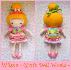 Little Miss Wilma - Fabric Cloth Doll