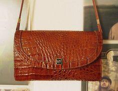 VINTAGE UNIKAT Tasche Handtasche Clutch Braun Kroko Schultertasche Mad Men 60er | eBay