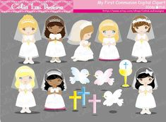First Communion Digital Clipart set includes 46 cute graphics.    Graphics are PERFECT for the Scrapbooking, Cards Design, Stickers, Paper
