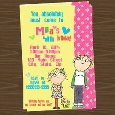Charlie & Lola party Invitations and favors