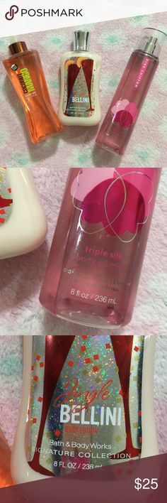 DisContinued  bath and body work bundle Bath  and body works bundle . 1. Pink chiffon triple silk body oil mist 8 fl oz/ 236 ml  about 5% used. 2. Jingle Bellini body lotion new sealed 8 fl oz / 236 ml 3. Coconut mango fragrance mist 8 fl oz / 236 ml  about 5% used. bath and body works Accessories