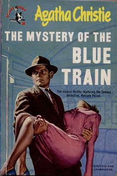 The Mystery of the Blue Train by Agatha Christie. Golden Age British crime fiction, US paperback edition.