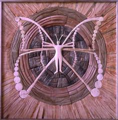THE BUTERFLY HUNAB-KU, different kinds of wood, 80 x 80 cm / MOTÝL HUNAB-KU, různá dřeva, 80 x 80 cm / Viva wood art
