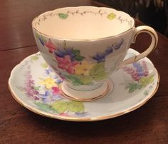 Vintage Foley Fine English Bone China Cup and Saucer • Rare Delphinium Pattern #Foley