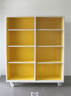 How to paint a bookshelf with Amy Howard one-step paint (color matched at Ace Hardware) Bookshelf Inspiration, Cabinet Inspiration, Bookshelf Ideas, Bookcase, Colorful Furniture, Painted Furniture, Amy Howard Paint, Unwanted Furniture, Bookshelves