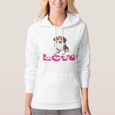 Beagle Puppy Love Hearts Ladies Hoodie Sweatshirt - dog puppy dogs doggy pup hound love pet best friend