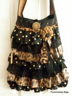 Gypsy Bag, large Shabby Chic bag, soft thick black polka dot and cheetah, black ruffled lace