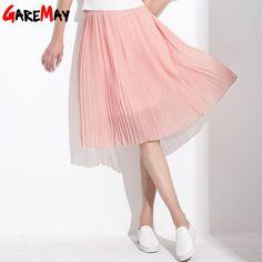 2053373af6c GAREMAY Women Long Chiffon Skirts Summer Pleated Black White Skirt School  Faldas Largas Maxi Saia Bohemian Skirt For Women 3019 - TakoFashion -  Women s ...