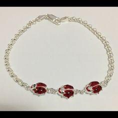 "Ladybug Bracelet Sterling Silver and Red Enamel ladybug Adult size Bracelet. Available in 8"". Jewelry Bracelets"