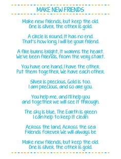 Make New Friends Free Printable Girl Scouts. One of the most popular girl scout songs that all girl scouts should learn. Scout Mom, Girl Scout Swap, Daisy Girl Scouts, Girl Scout Leader, Girl Scout Troop, Cub Scouts, Girl Scout Songs, Girl Scout Crafts, Brownie Girl Scouts
