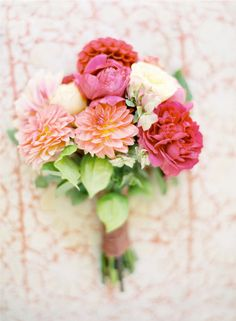 Pink & Coral Bridal bouquet #flowers #romantic #camillestyles