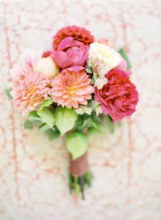 Pink & Coral Bridal bouquet #flowers #romantic #camillestyles