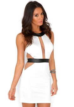Klarissa Mesh Insert Bodycon Dress In Cream