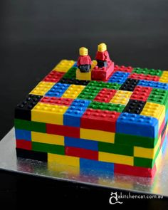 Lego Cake Not really birthday - made it for a fundraiser at the local children's hospital. You'll find a very rough tutorial on. Lego Themed Party, Lego Birthday Party, Birthday Cake, Pear And Almond Cake, Almond Cakes, Lego Torte, Bolo Lego, Lego Boxes, Plum Cake