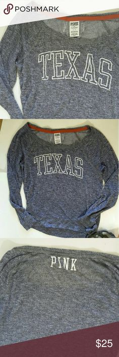 Pink victoria's secret 5th & ocean  Heather gray lite sheer oversized  Texas top with the word pink  on the back 18 inches from armpit to armpit 23 inches from shoulder to bottom of shirt PINK Victoria's Secret Tops