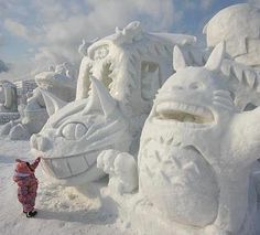 Studio Ghibli ice sculptures