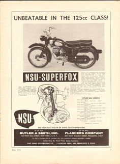 1958 NSU Superfox 11 x 14 Matted Vintage Motorcycle Print Ad Art Poster