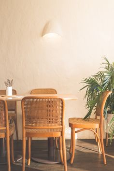 Cane furniture at Eat Burger by Amber Road. Image: Supplied