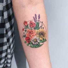 Rose tattoo by Deborah Genchi #DeborahGenchi #rosetattoos #color #watercolor #realistic #painterly #flowers #floral #rose #rosebud #leaves #nature #plant #daisy #sunflower #lavender