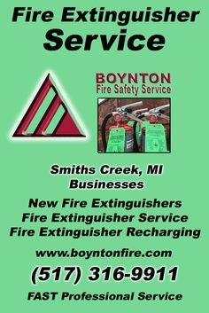 Fire Extinguisher Service Smiths Creek, MI.  (517) 316-9911 Check out Boynton Fire Safety Service.. The Complete Source for Fire Protection in Michigan. Call us Today!