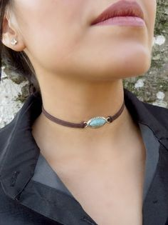 Choker Necklace Suede Choker Necklace Bohemian Turquoise