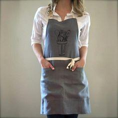 Kitchen Apron, Grey/Black
