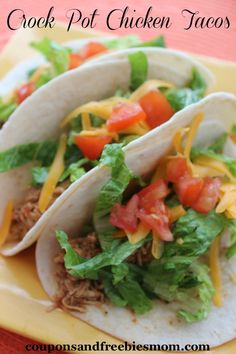 Crock-Pot-Chicken-Tacos|Coupons and Freebies Mom| Our family loves tacos and especially these yummy Crock Pot Chicken Tacos.  They are so easy to throw together and cook while you are working or out and about and fun to assemble with your favorite toppings for a quick and easy taco buffet the whole family will love.  The mild flavor is perfect for your picky eaters and of course great for those who are watching what they eat since the lean chicken breasts are lower in fat and calories than…