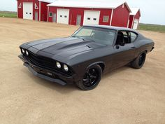 Protouring 1969 chevelle, dark grey with black stipe