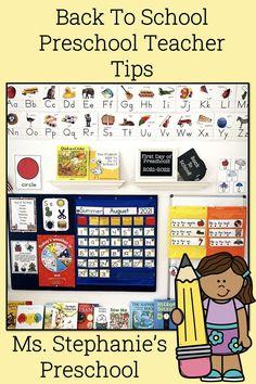 Back to school tips for the preschool teacher! Preschool Teacher Tips, Preschool First Day, Teacher Blogs, Preschool Classroom, Teacher Hacks, Preschool Learning, New School Year, First Day Of School, Back To School Hacks