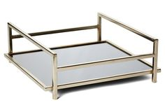 "16"" Deco Mirrored Tray, Silver"