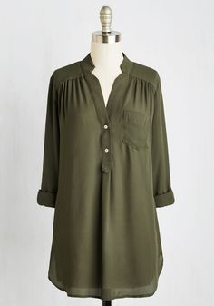 Pam Breeze-ly Tunic in Olive. When you want a work wardrobe thats subtle, stylish, and a little bit romantic, make this breezy, olive green blouse your business! #green #modcloth