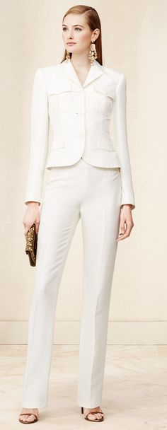 @ralphlauren Collection Spring 2015: Our polished Serengeti jacket is crafted in Italy from luminous silk shantung and features patch pockets at the chest and an ultra-slim fit. Pair it with our Silk Shantung Breanna Pant to complete the elegant suiting look. #woman #white #chic