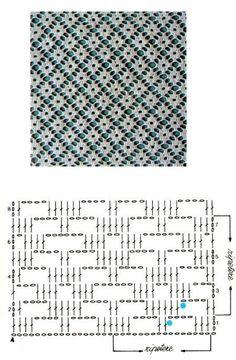 CROCHET - Lovely Feminine Wide Boarder Lattice Stitch Pattern (Asian Pattern, Found on Russian Website (allmyhobby. Motif Bikini Crochet, Crochet Lace Edging, Crochet Blouse, Crochet Doilies, Crochet Stitches Chart, Crochet Diagram, Crochet Blanket Patterns, Stitch Patterns, Filet Crochet Charts